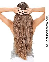ブルネット, 毛, 隔離された, 長い間, 背中, 保有物, 白, 女性, サイド光景