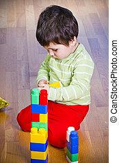 ブルネット, 部屋, 色, 木製である, おもちゃ, 子供, タワー, 遊び
