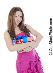 ブルネット, box., 贈り物, 美しい