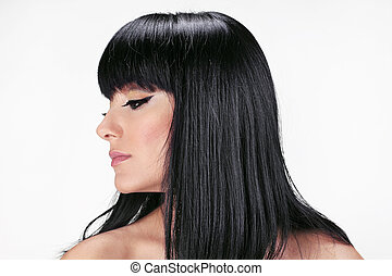 ブルネット, hair., 美しい女性, ∥で∥, まっすぐに, 長い髪