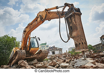 ブレーカ, 掘削機, 水力である, hydrohammer, 破壊, 二次