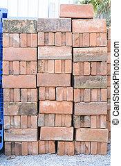 ブロック, コンクリート, ひどく, 山, 歩道, 状態