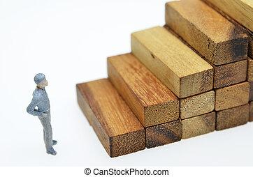 ブロック, ステップ, ビジネスマン, 方法, 木, 成功