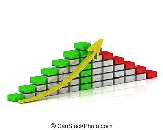 ブロック, チャート, 白, ビジネス 成長, 緑, 黄色, 赤