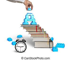 ブロック, 時計, 完了, 手, 形, 本, 階段, 警報