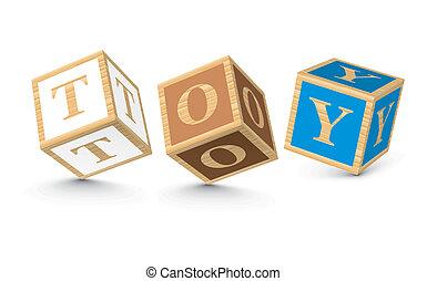 ブロック, 書かれた, おもちゃ, 単語