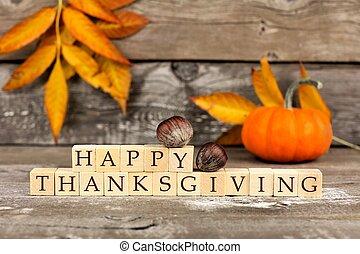 ブロック, 木製である, 感謝祭, に対して, 無作法, 木, 幸せ