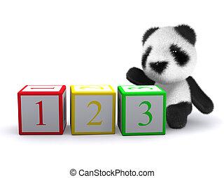 ブロック, 熊, 赤ん坊, 数える, パンダ, 3d