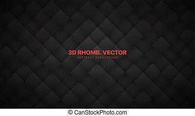 ブロック, 背景, ひし形, 技術的である, 3d, 抽象的, 灰色, 格子, 暗い, ベクトル