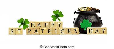 ブロック, 金, 木製である, 上に, st. patricks, shamrocks, 白, ポット, 日, 幸せ