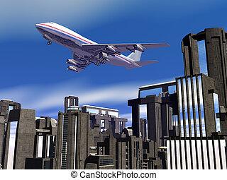 ブロック, 飛行機, 上に, 都市
