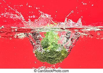 ブロッコリー, 水, 緑, 泡, 空気, 落ちる