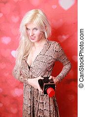 ブロンド, かなり, 赤, ファッション, 女, 大きい, 口紅