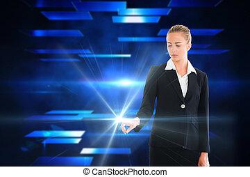 ブロンド, ライト, 感動的である, 女性実業家