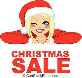 ブロンド, 女, クリスマス, セール