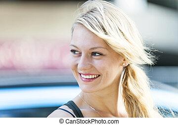 ブロンド, 女, 若い, 微笑