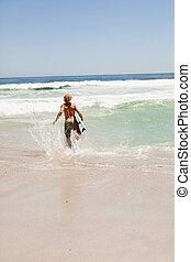 ブロンド, 彼の, 水, 男ラニング, サーフボード, 若い