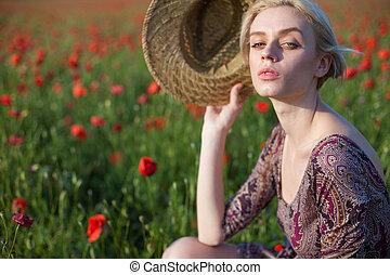 ブロンド, 花, 女, 帽子, 流行, 赤, フィールド, 美しい