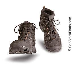 ブーツ, 歩くこと, ハイキング, 白い背景