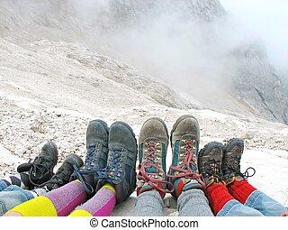 ブーツ, 残り, 家族ハイキング, dolomites