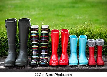 ブーツ, 組, 5, 雨, カラフルである