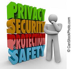 プライバシー, セキュリティー, 保護安全, 思想家, 3d, 言葉