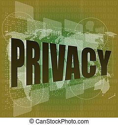 プライバシー, 単語, 上に, デジタル, スクリーン, セキュリティー, 概念