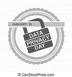 プライバシー, 錠, 印。, day., ベクトル, データ