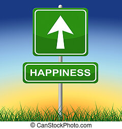 プラカード, 喜び, 印, 矢, 幸福, ショー