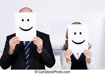 プラカード, businesspeople, smileys, 保有物, 顔, 前部