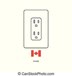 プラグ, カナダ, b, ソケット, 力, 旗, ベクトル, 電気である, タイプ, illustration.