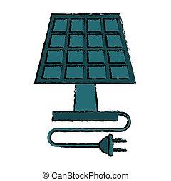 プラグ, クリーンエネルギー, 生態学的, 太陽, 図画, パネル