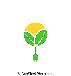 プラグ, ケーブル, eco, 太陽, エネルギー, leafs, イラスト, 充満, 力, ベクトル, 緑, ロゴ, アイコン, デザイン, template., 回復可能