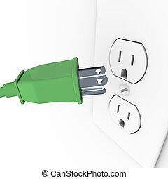 プラグ, 壁, 緑, 電気 出口