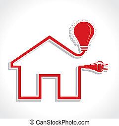 プラグ, 家, アイコン, 電球, 配線された