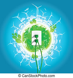 プラグ, 緑, 概念, エネルギー