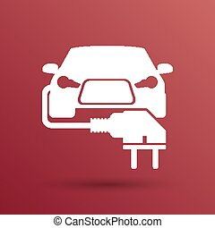 プラグ, 電気である, eco, 自動車, ベクトル, 燃料, アイコン