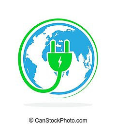 プラグ, illustration., 地球, ベクトル, 電気である, icon.
