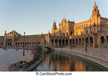 プラザ, 夕方, seville, de, andalusia, espana, スペイン