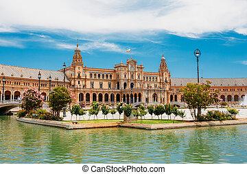 プラザ, espana, de, -, andalusia, 有名なランドマーク, seville, スペイン