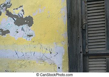 プラスター, 古い, 壁, 型, 黄色, color., 暗い, 権利, 緑, 点, 背景, グランジ, 白, シャッター