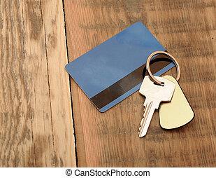 プラスチックのキー, カード, 背景, 木製である