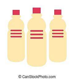 プラスチック, アイコン, びん, 水, 隔離された