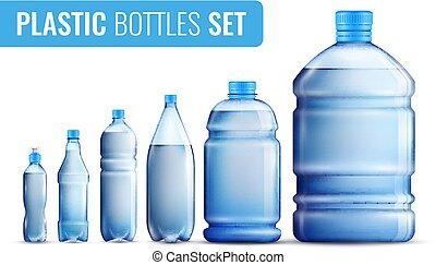 プラスチック, セット, びん, アイコン