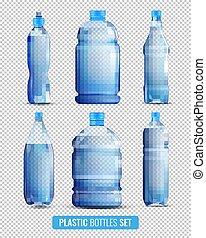 プラスチック, セット, びん, 透明, アイコン