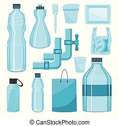 プラスチック, セット, パッケージ, ベクトル, びん, タイプ, 容器