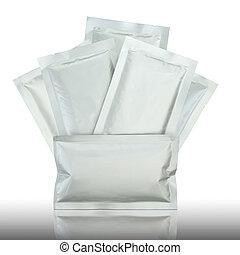 プラスチック, パッケージ, 上に, 反映しなさい, 床, そして, 白い背景