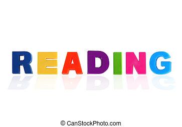 プラスチック, 子供, 手紙, 多彩, 書かれた, 読書