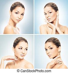 プラスチック, 構造, 若い, woman., concept., 肖像画, 顔, 魅力的, 健康, 持ち上がること, 手術