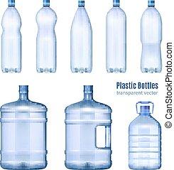 プラスチック, 水のビン, 現実的, セット